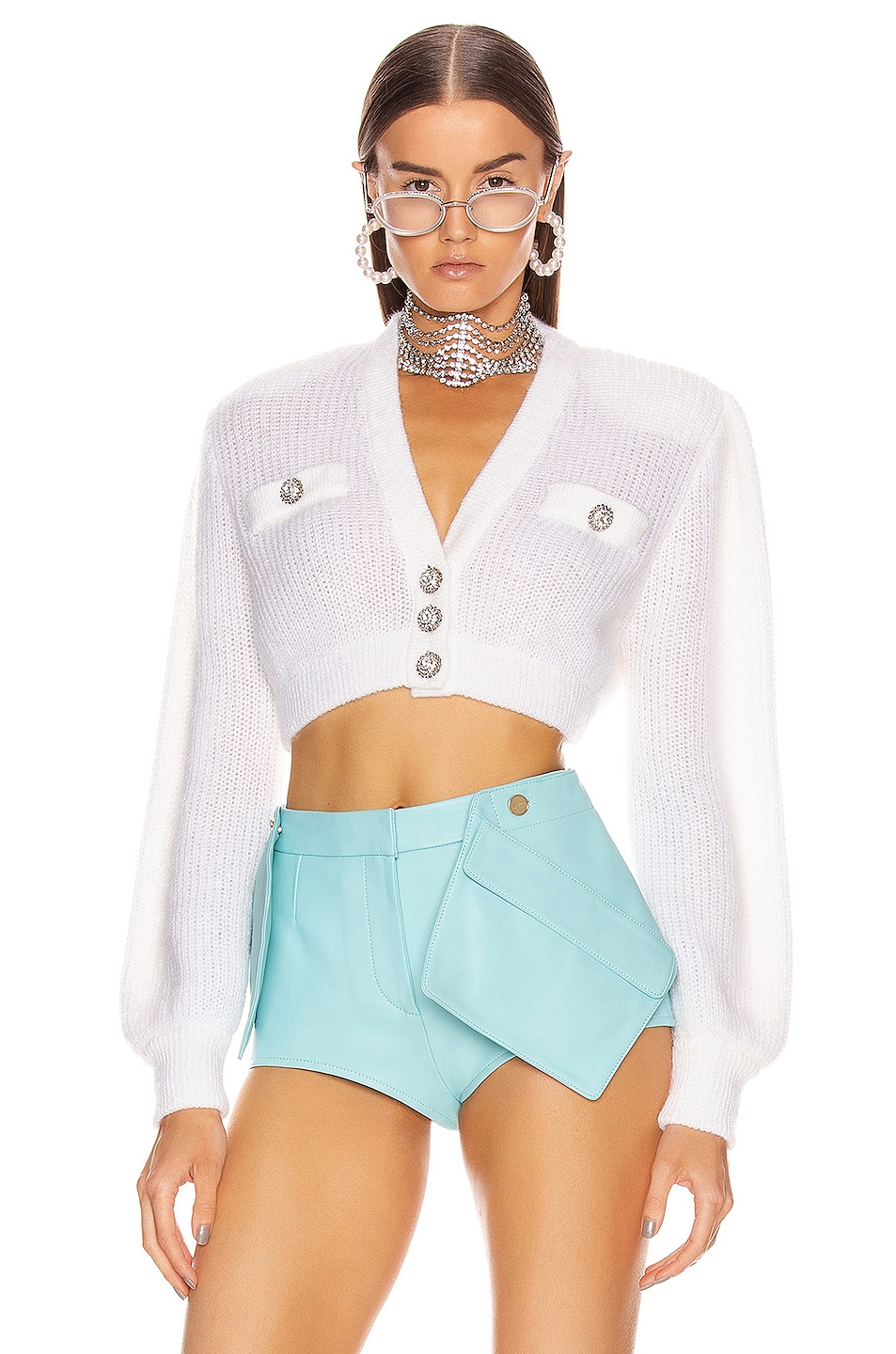 Image 1 of Alessandra Rich Wool Crystal Button Crop Cardigan in White