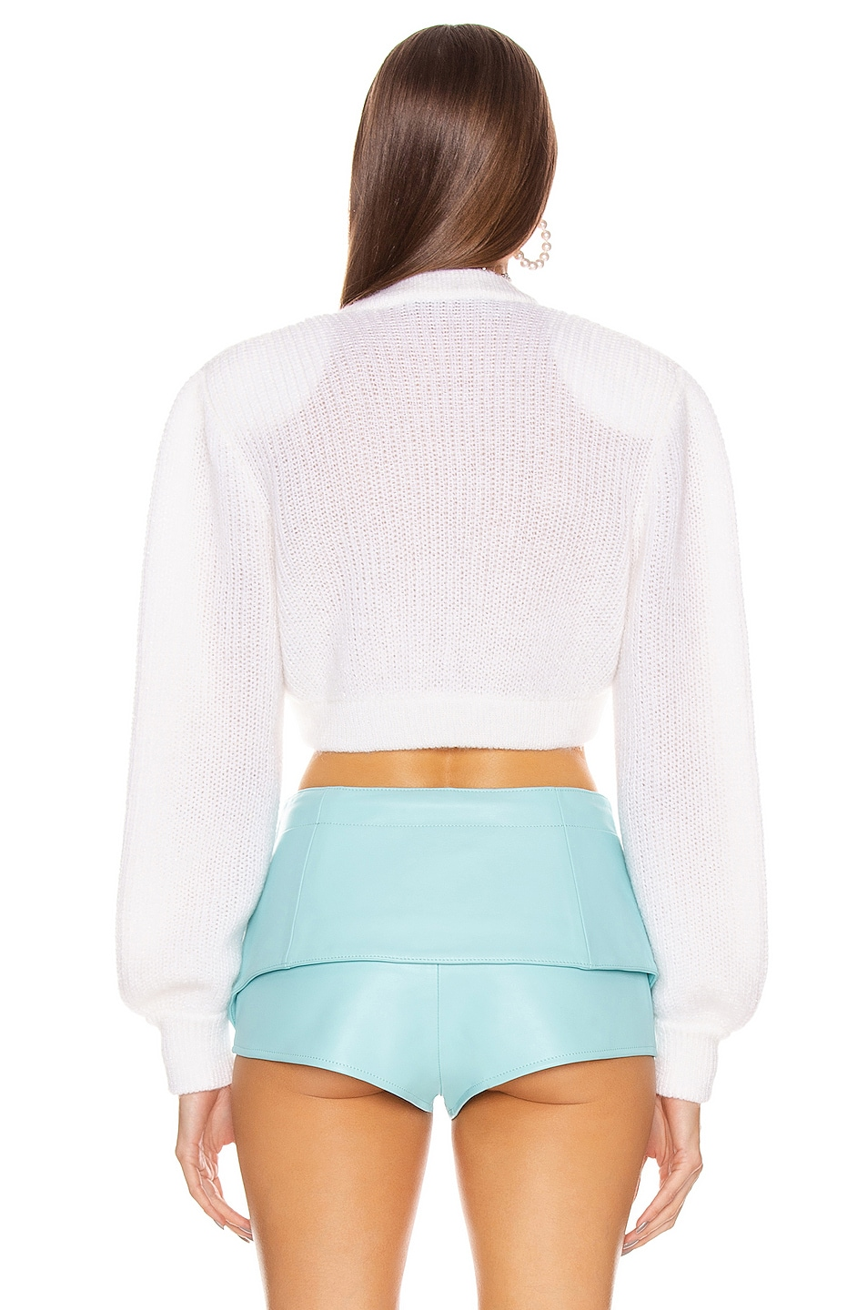 Image 3 of Alessandra Rich Wool Crystal Button Crop Cardigan in White