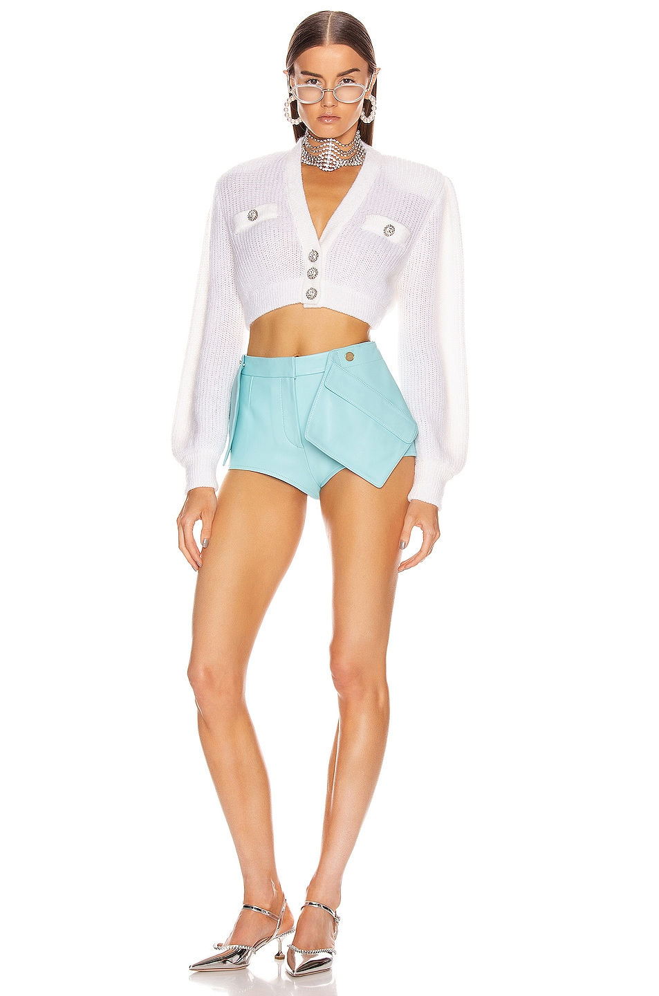 Image 4 of Alessandra Rich Wool Crystal Button Crop Cardigan in White