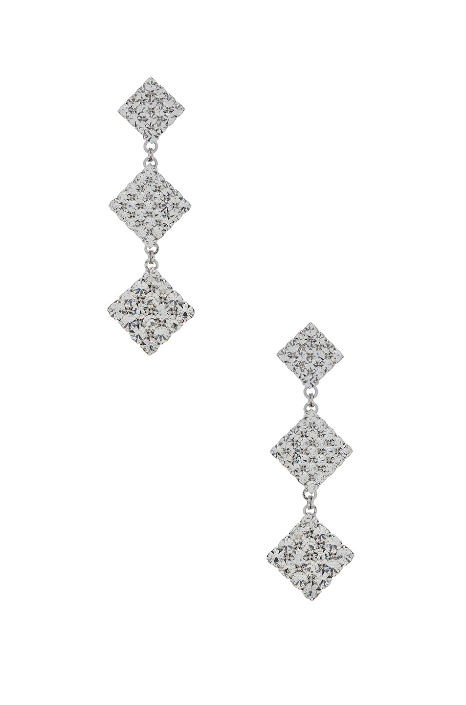 Image 1 of Alessandra Rich Long Crystal Dangle Earrings in Crystal