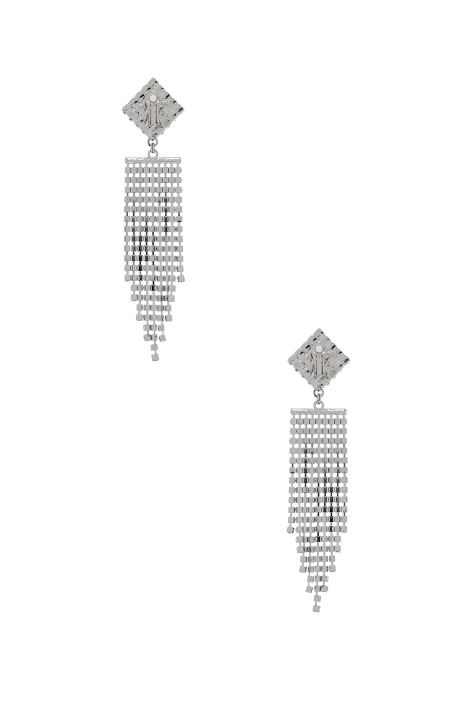 Image 3 of Alessandra Rich Diamond Crystal Fringe Earrings in Crystal