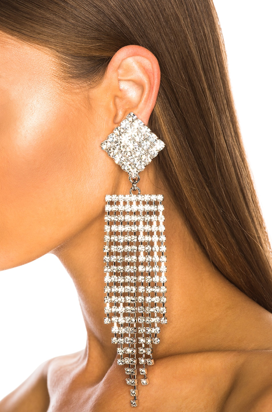 Image 4 of Alessandra Rich Diamond Crystal Fringe Earrings in Crystal