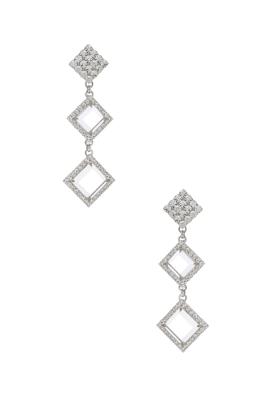 Image 1 of Alessandra Rich Long Diamond Crystal & Plexiglass Earrings in Crystal