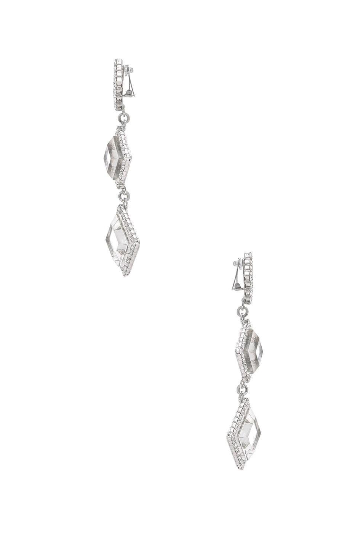 Image 2 of Alessandra Rich Long Diamond Crystal & Plexiglass Earrings in Crystal