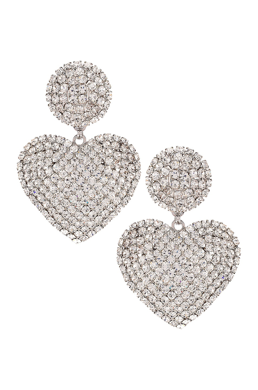 Image 1 of Alessandra Rich Heart Earrings in Crystal