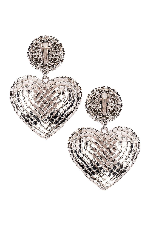 Image 4 of Alessandra Rich Heart Earrings in Crystal
