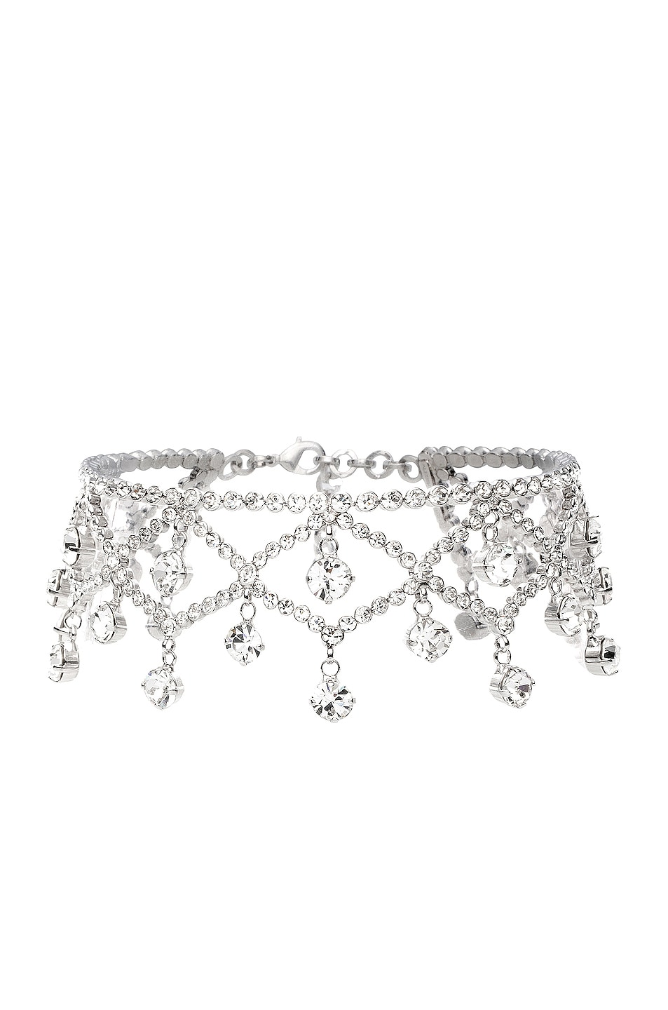 Image 1 of Alessandra Rich Crystal Drop Choker in Crystal & Silver