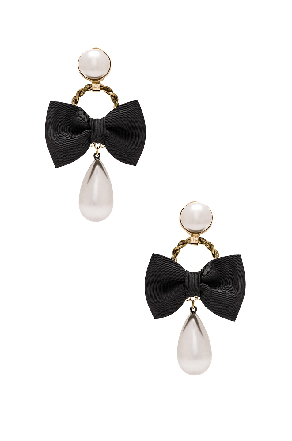 Image 1 Of Alessandra Rich Bow & Pearl Earrings In Black