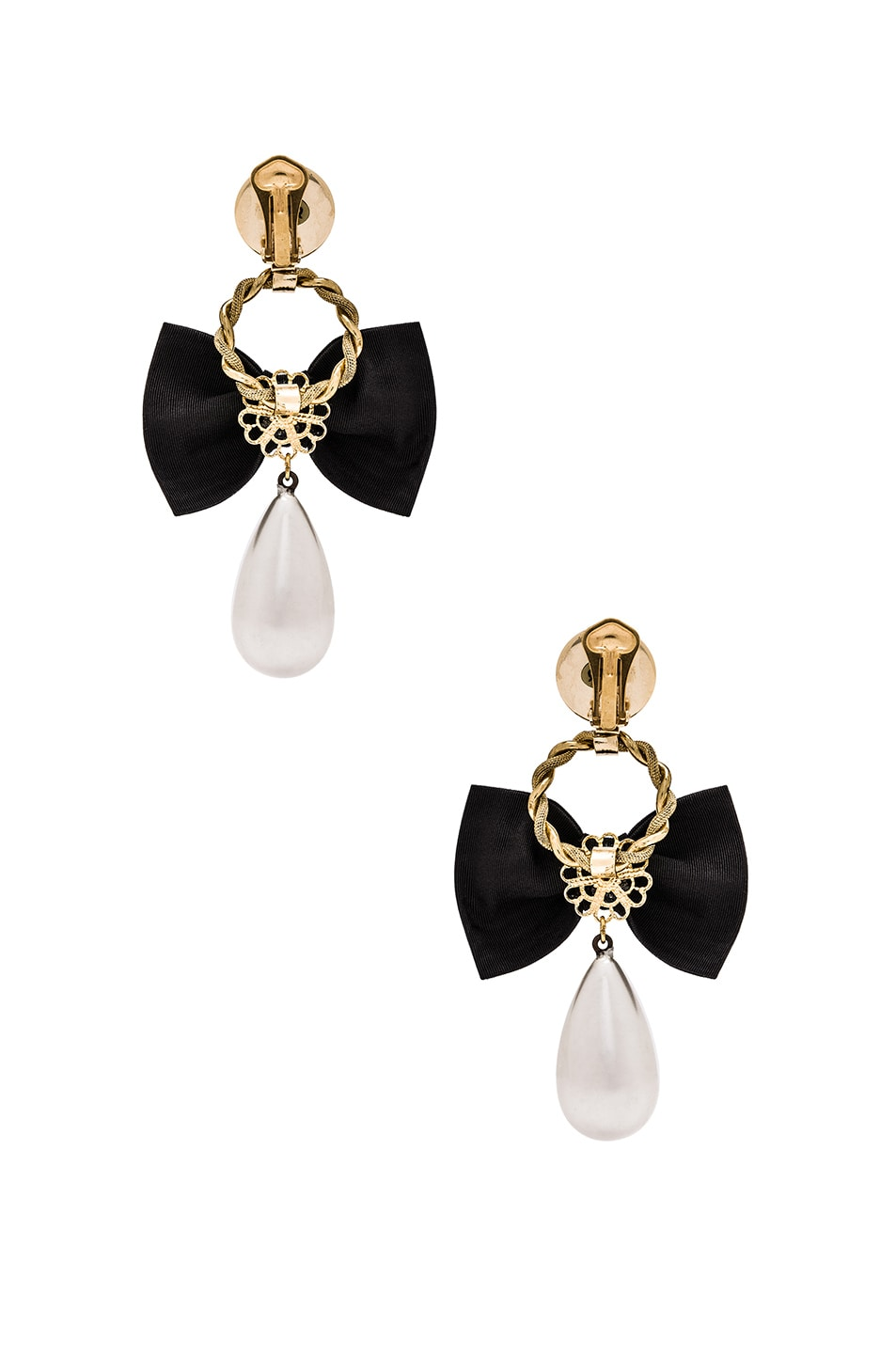 Image 3 Of Alessandra Rich Bow & Pearl Earrings In Black