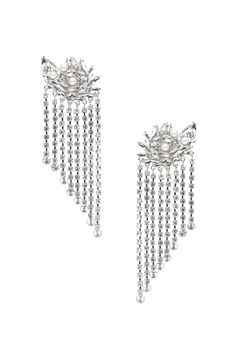 Image 1 of Alessandra Rich Crystal Cascade Earrings in Crystal & Silver
