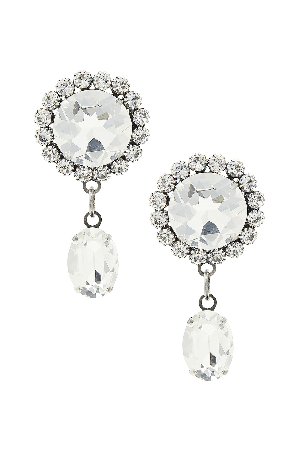 Image 1 of Alessandra Rich Crystal Pendant Earrings in Silver