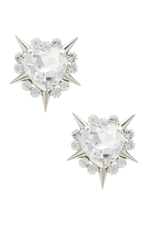 Image 1 of Alessandra Rich Crystal Heart Spike Earrings in Silver