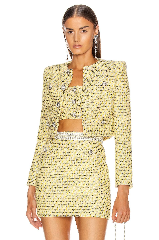 Image 1 of Alessandra Rich Sequin Tweed Crop Jacket in Yellow