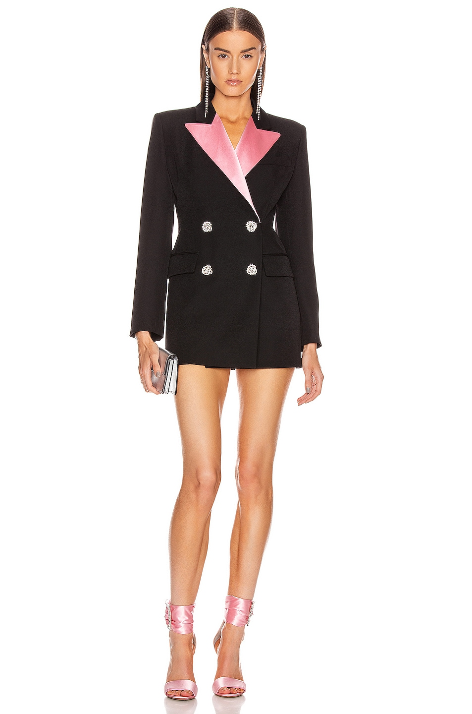 Image 1 of Alessandra Rich Double Breasted Jacket With Pink Collar in Black & Pink