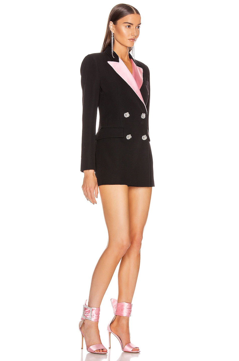 Image 2 of Alessandra Rich Double Breasted Jacket With Pink Collar in Black & Pink