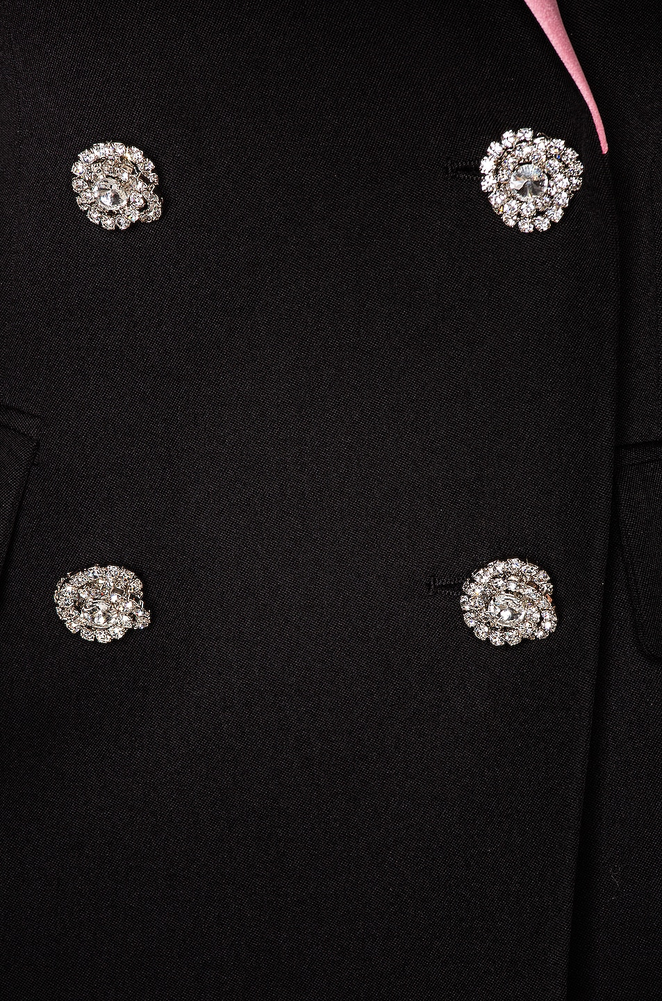 Image 4 of Alessandra Rich Double Breasted Jacket With Pink Collar in Black & Pink