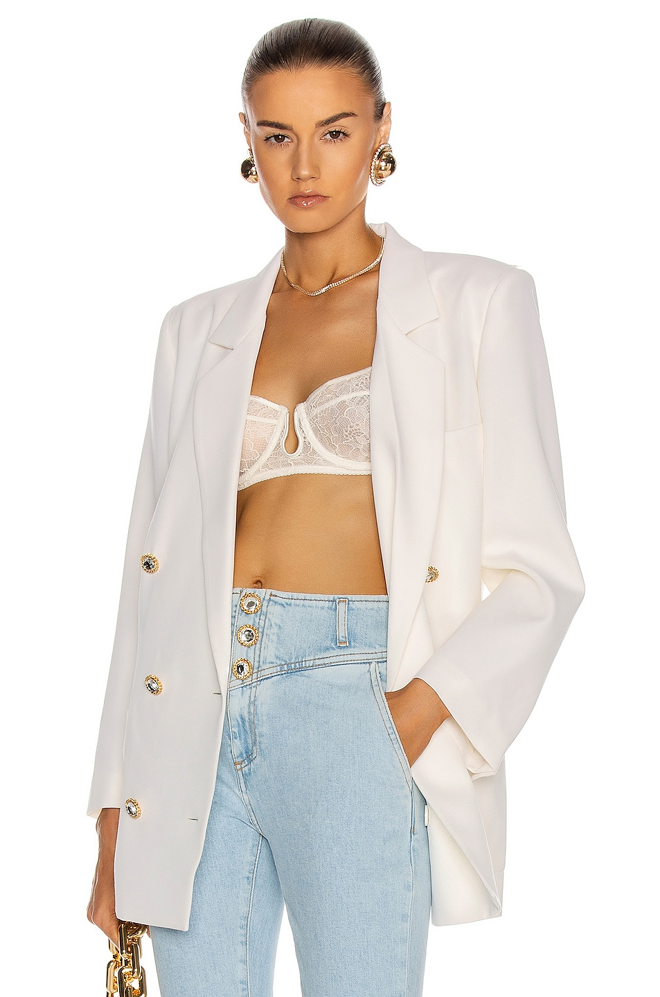 Image 1 of Alessandra Rich Light Wool Double Breasted Jacket in White