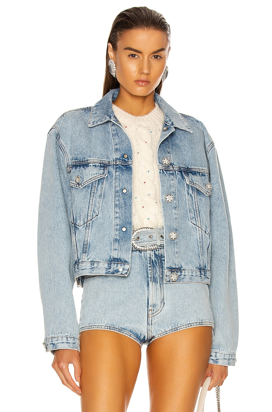 Image 1 of Alessandra Rich Denim Jacket in Light Blue