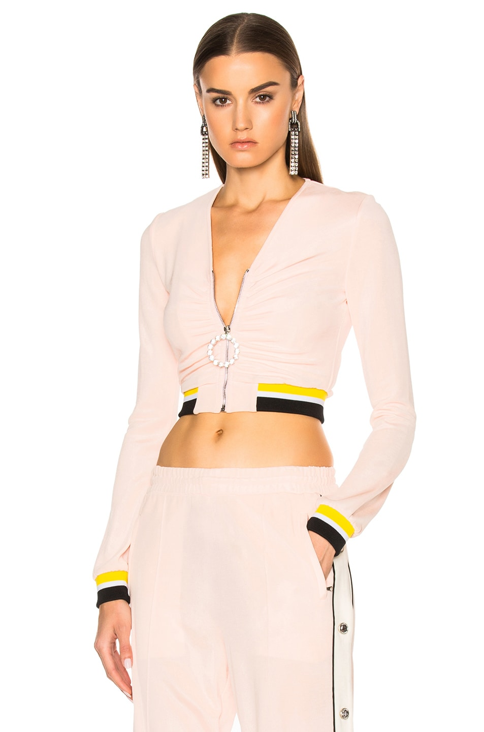 Image 1 of Alessandra Rich Zip Up Tracksuit Jacket in Pink