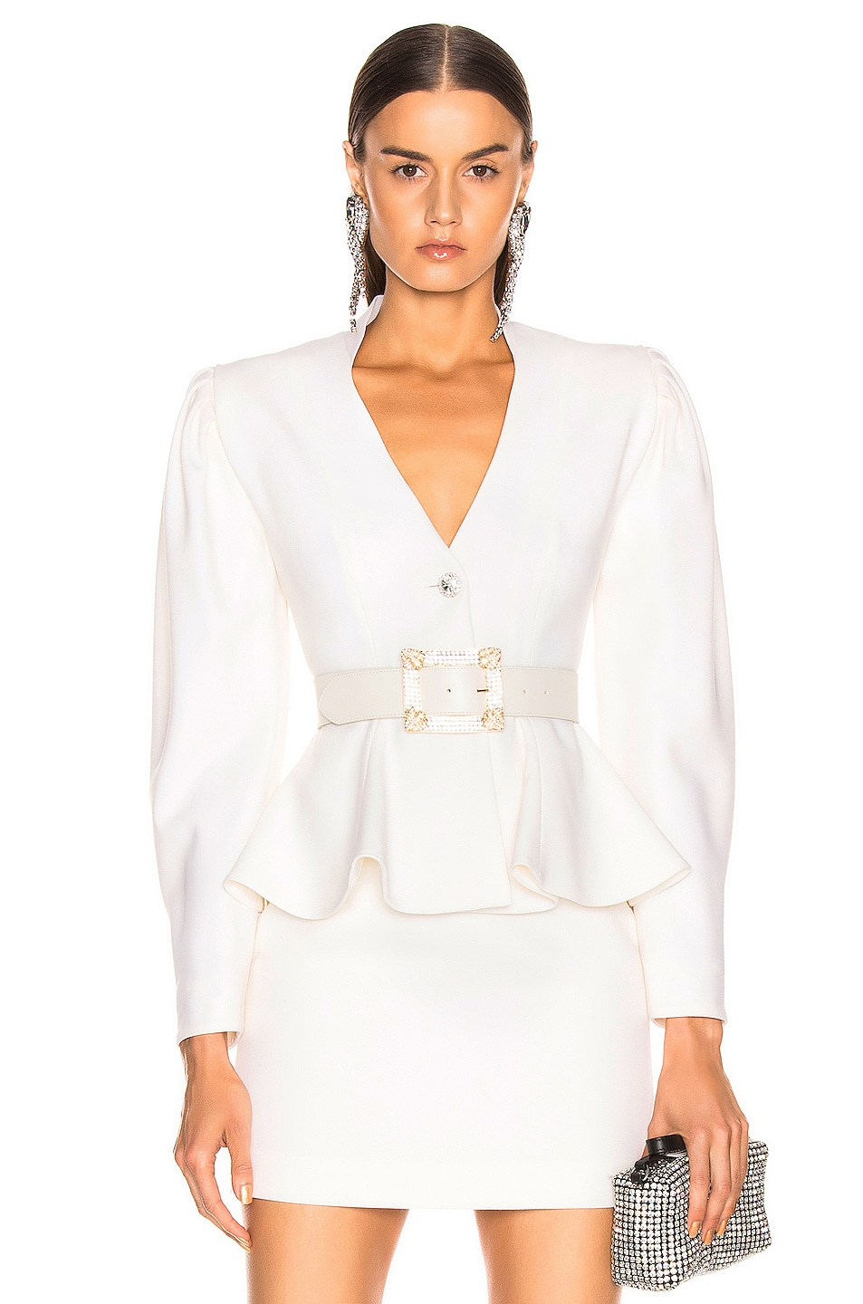 Image 1 of Alessandra Rich Peplum Jacket in White