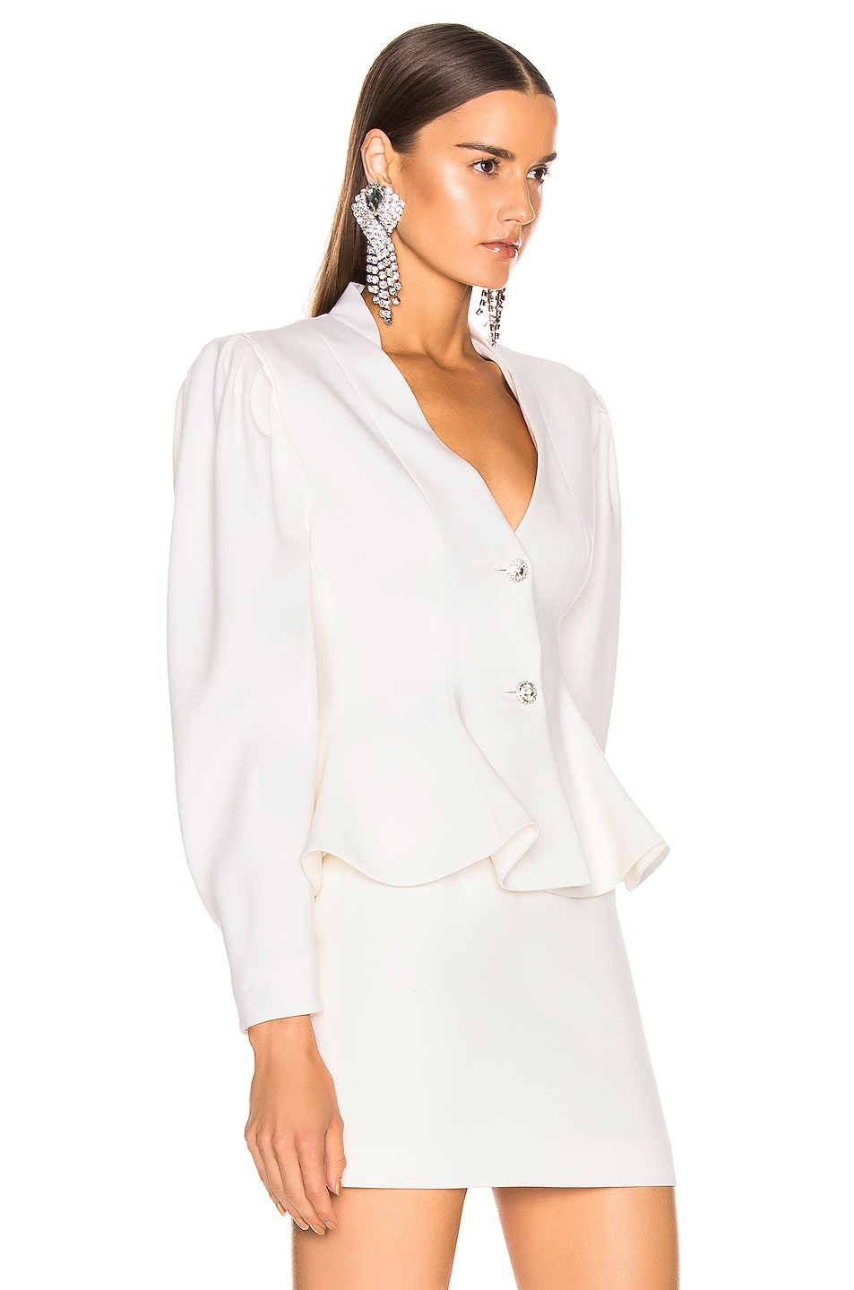 Image 2 of Alessandra Rich Peplum Jacket in White