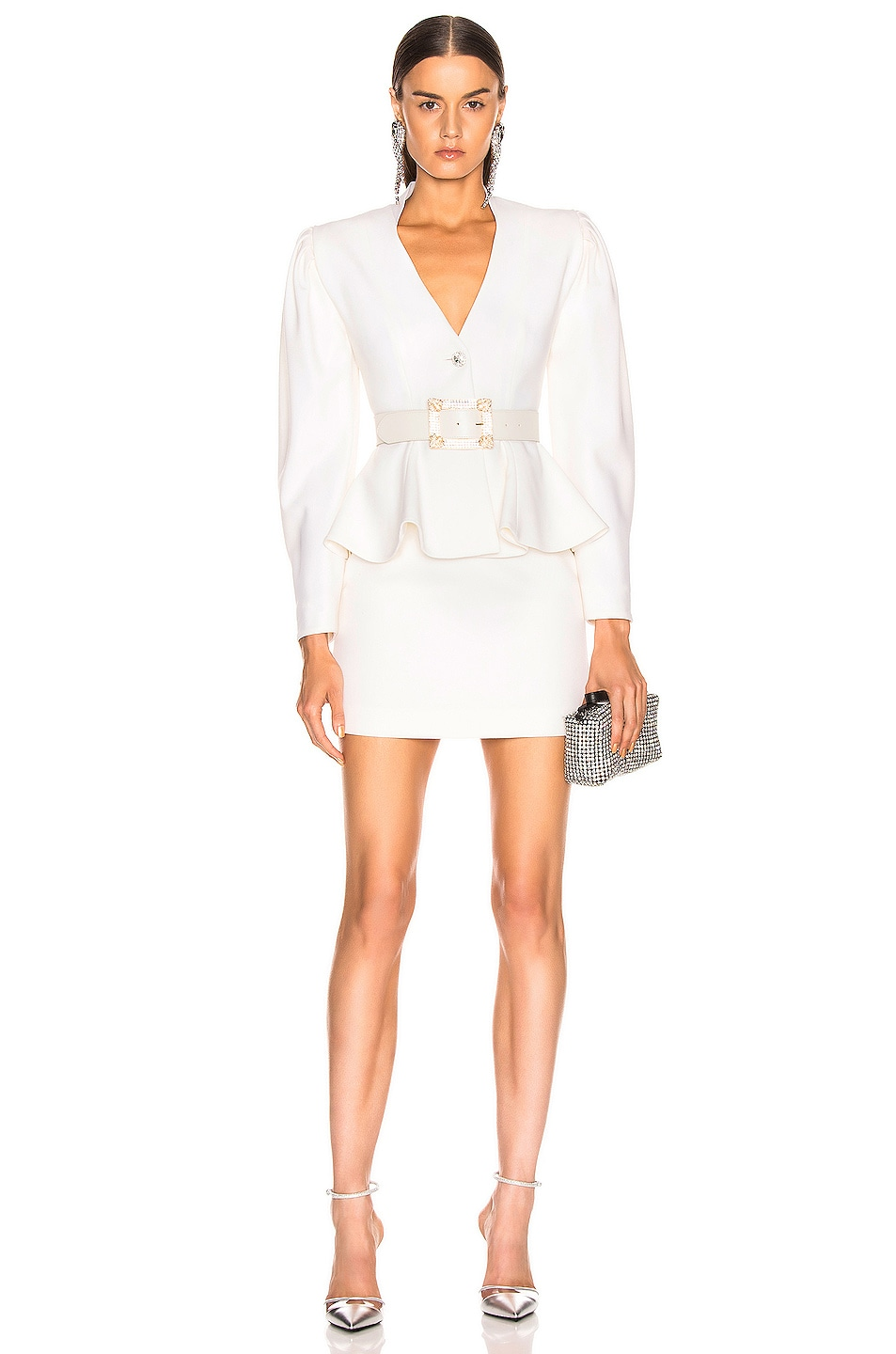 Image 4 of Alessandra Rich Peplum Jacket in White