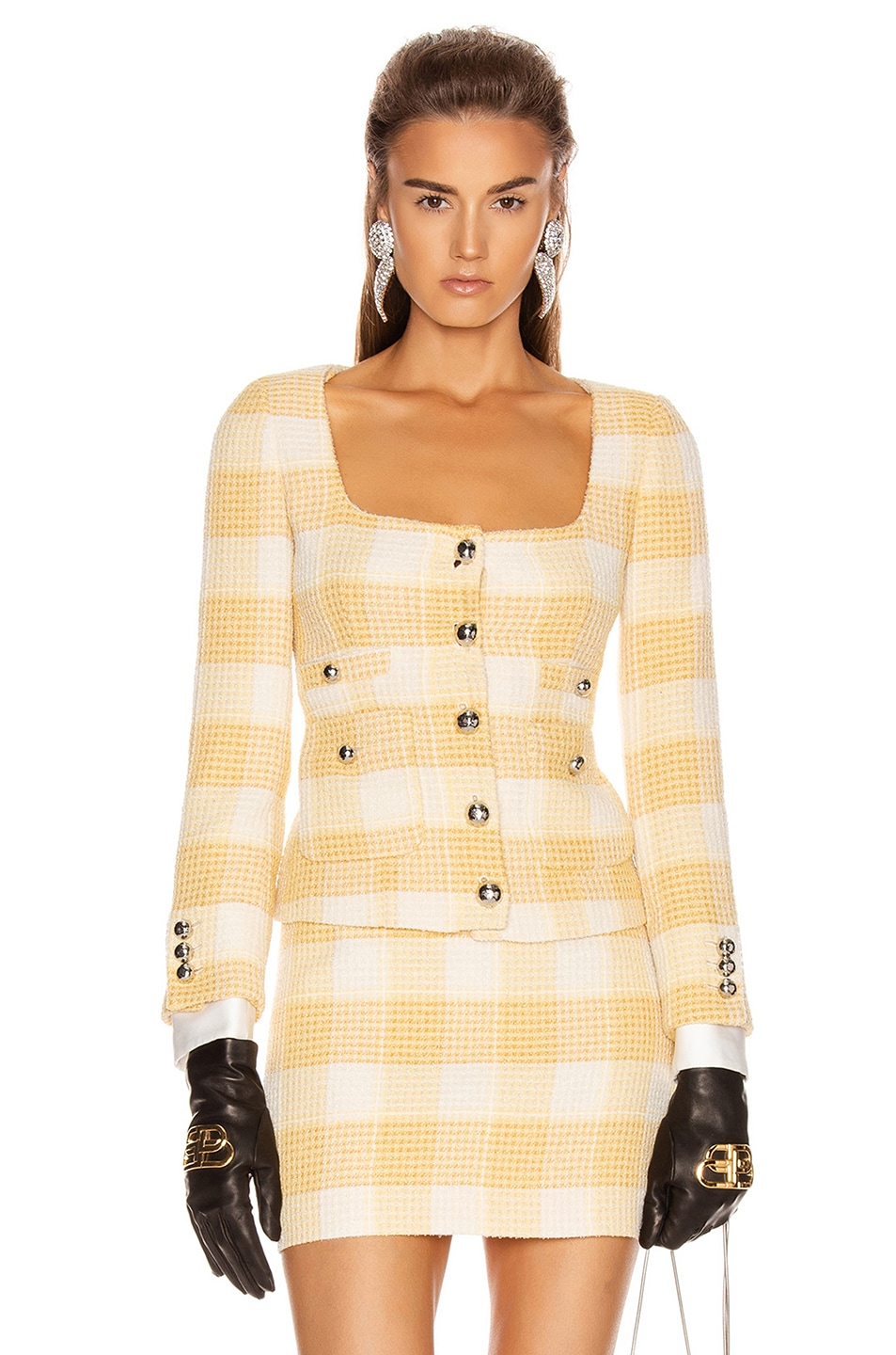 Image 1 of Alessandra Rich Round Neck Check Tweed Jacket in Yellow