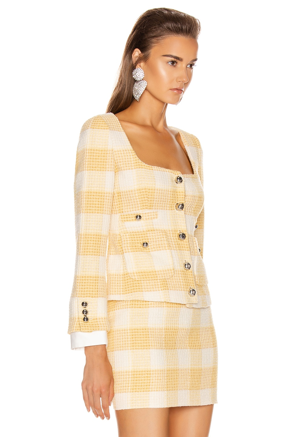 Image 2 of Alessandra Rich Round Neck Check Tweed Jacket in Yellow