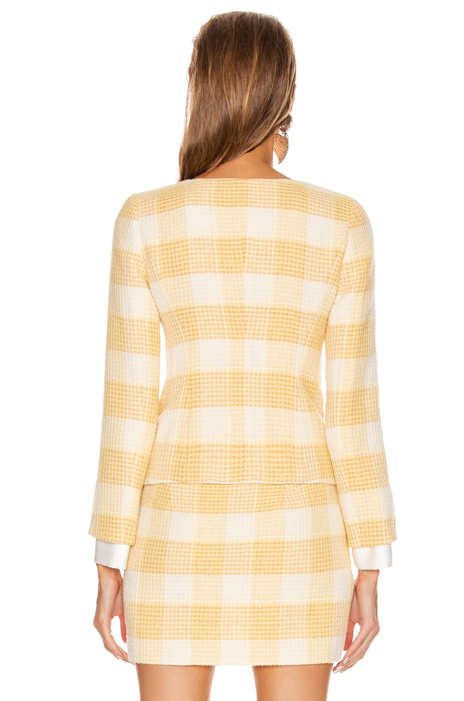 Image 3 of Alessandra Rich Round Neck Check Tweed Jacket in Yellow