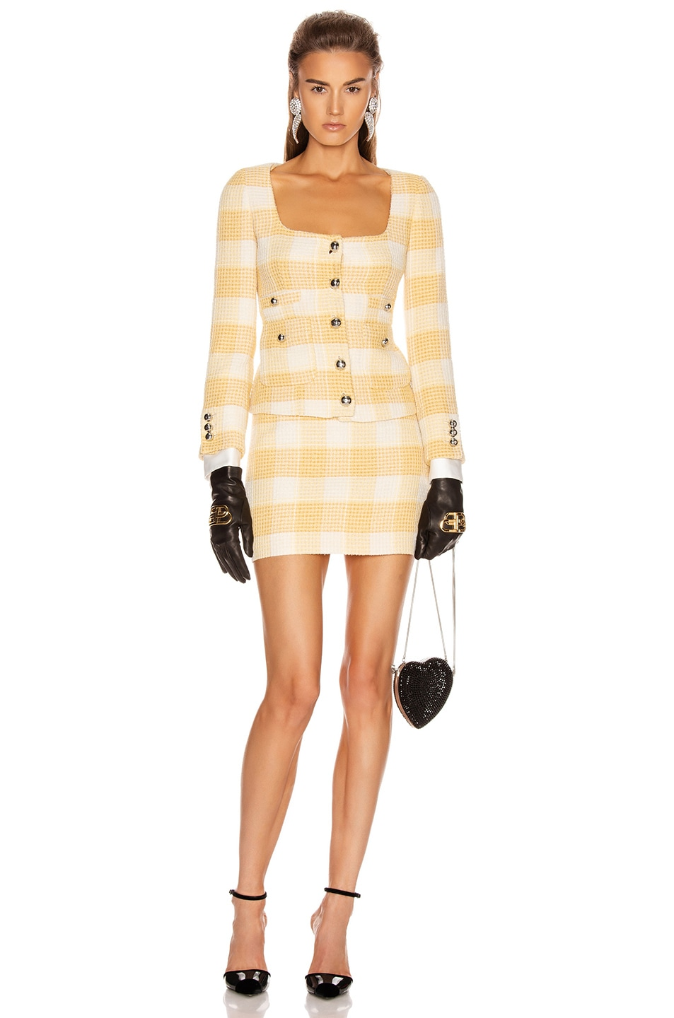 Image 4 of Alessandra Rich Round Neck Check Tweed Jacket in Yellow