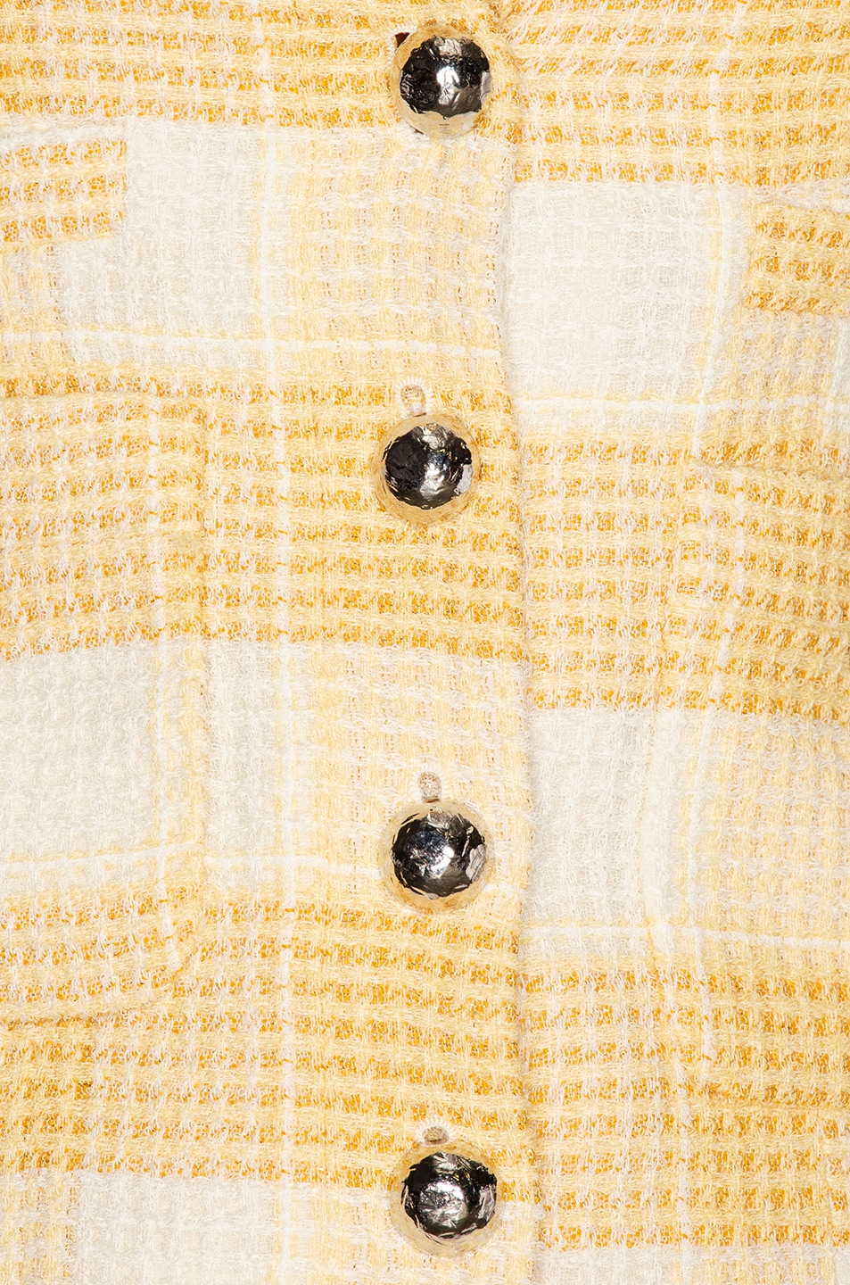 Image 5 of Alessandra Rich Round Neck Check Tweed Jacket in Yellow