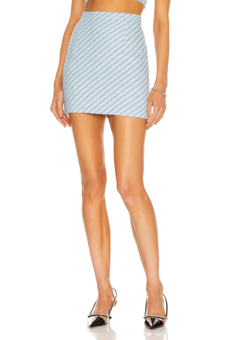 Image 1 of Alessandra Rich Striped Tweed Mini Skirt in Light Blue