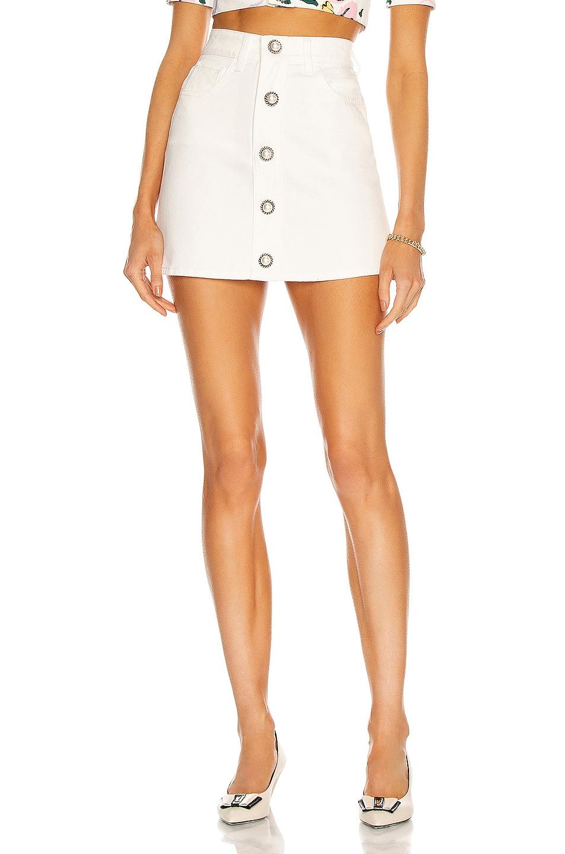 Image 1 of Alessandra Rich Cotton Drill Mini Skirt in White