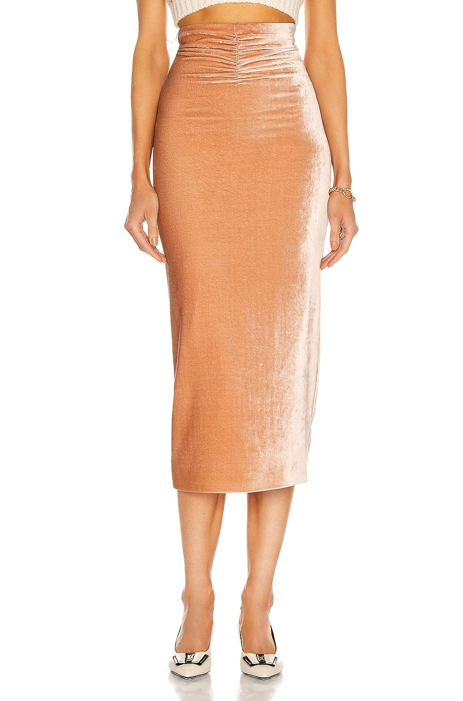 Image 1 of Alessandra Rich Velvet Midi Skirt in Nude