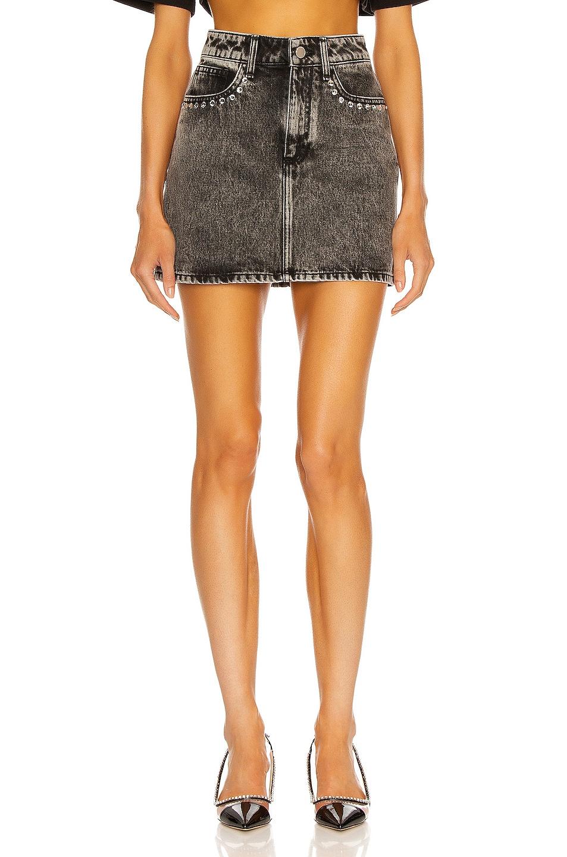 Image 1 of Alessandra Rich Denim Mini Skirt in Grey