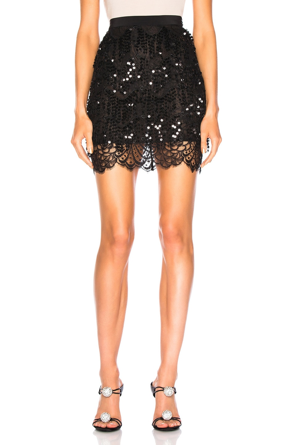 Image 1 of Alessandra Rich Embellished Lace Mini Skirt in Black