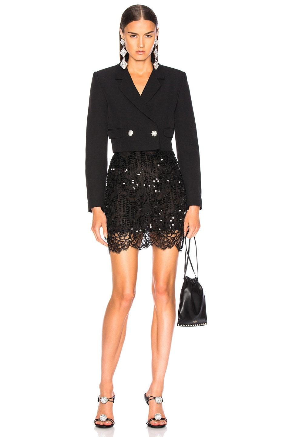 Image 4 of Alessandra Rich Embellished Lace Mini Skirt in Black