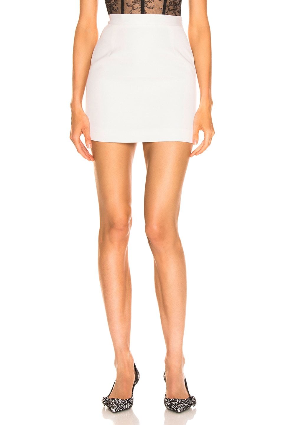 Image 1 of Alessandra Rich High Waisted Mini Skirt in White