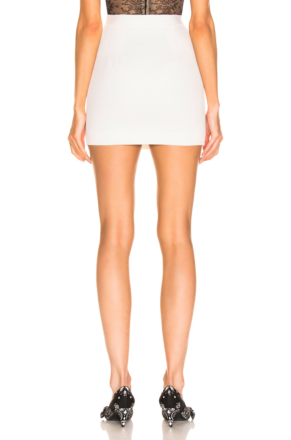 Image 3 of Alessandra Rich High Waisted Mini Skirt in White