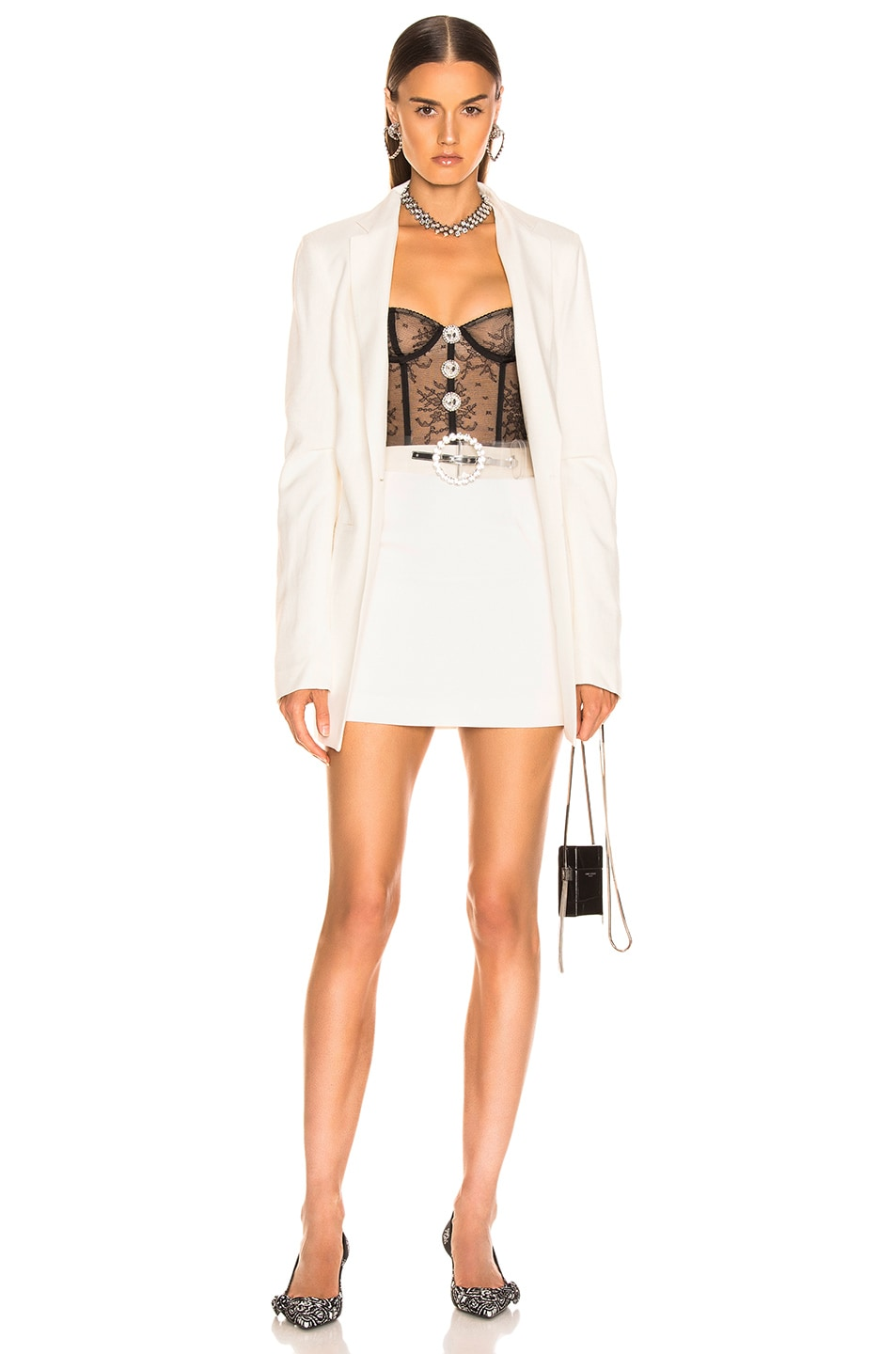 Image 4 of Alessandra Rich High Waisted Mini Skirt in White