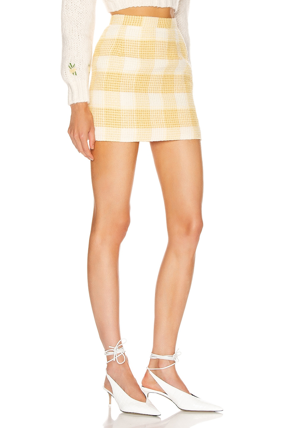 Image 2 of Alessandra Rich Check Tweed Mini Skirt in Yellow