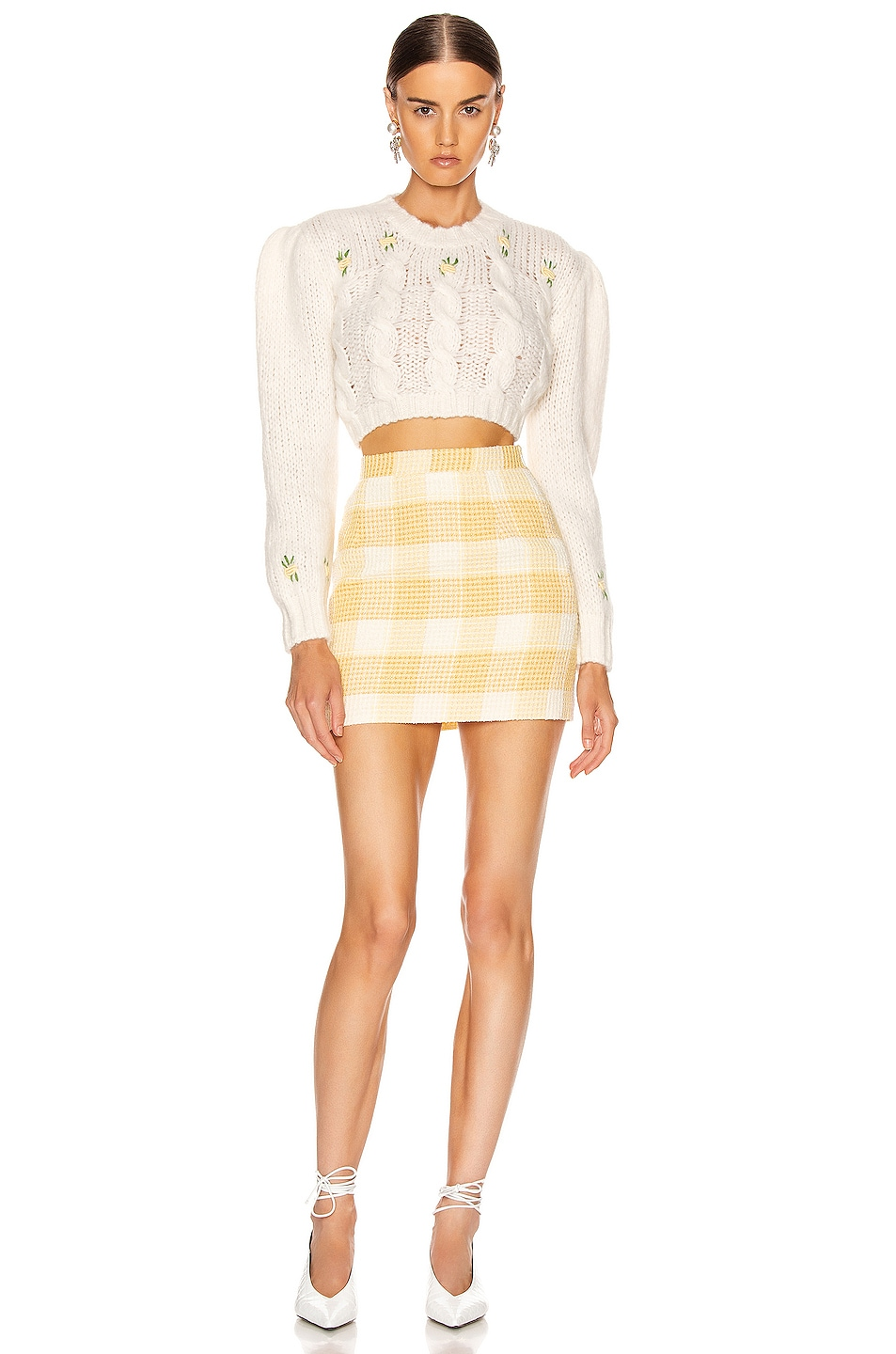 Image 4 of Alessandra Rich Check Tweed Mini Skirt in Yellow