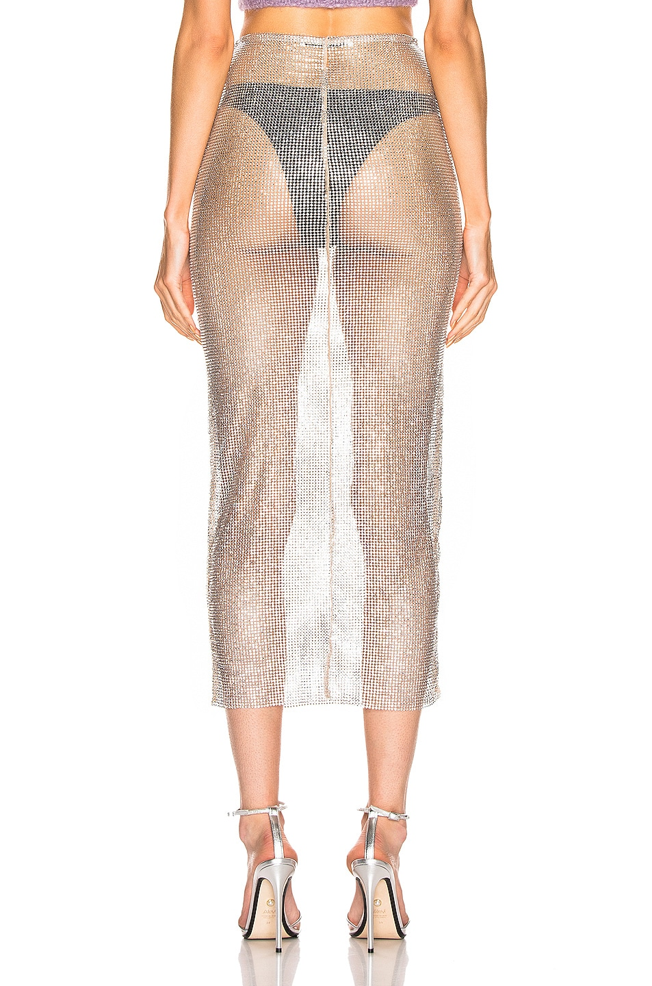 Image 3 of Alessandra Rich Crystal Net Midi Skirt in Nude & Crystal