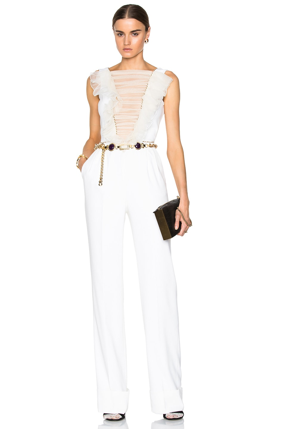 Alessandra Rich Silk Jumpsuit with Ruched Tulle Front in White | FWRD