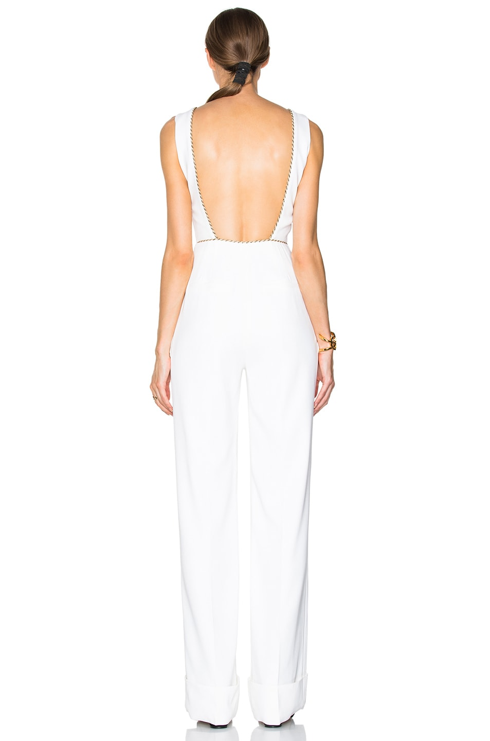 2aa21d75ef54 Image 4 of Alessandra Rich Silk Jumpsuit with Ruched Tulle Front in White