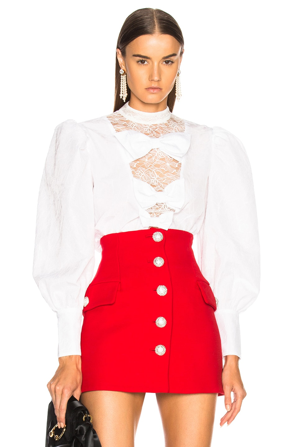 Image 1 of Alessandra Rich Bow Detail Blouse in White
