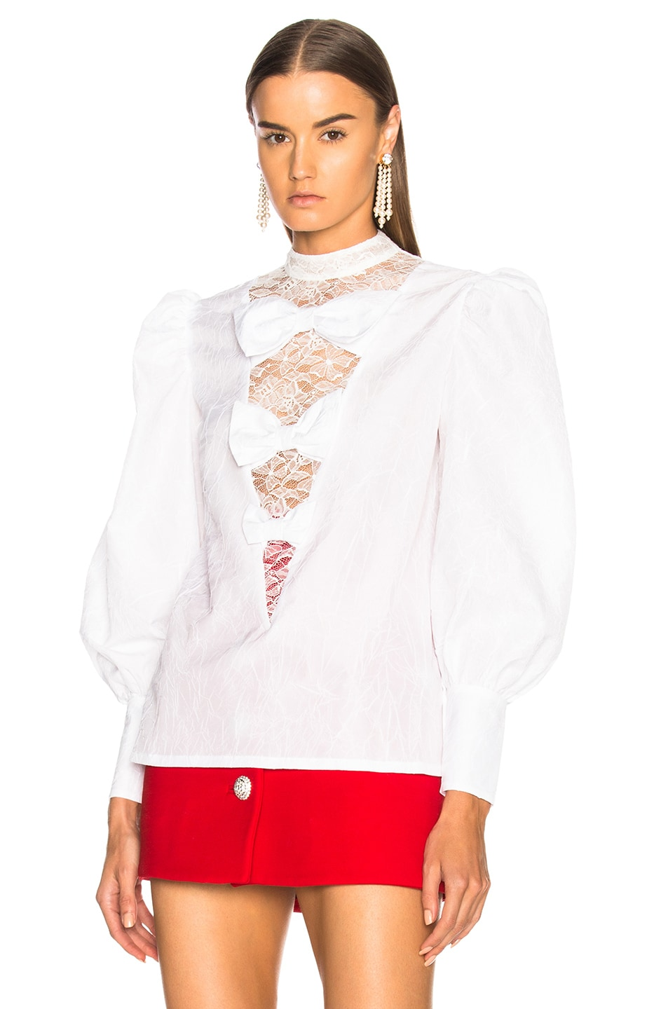 Image 2 of Alessandra Rich Bow Detail Blouse in White
