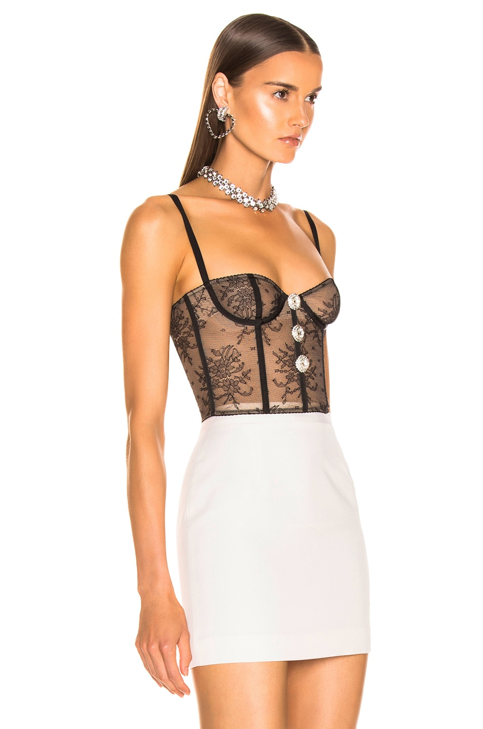 Image 2 of Alessandra Rich Lace Bustier in Black