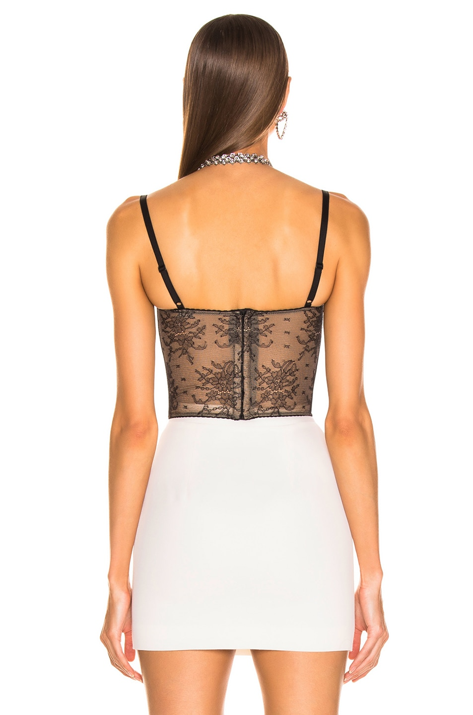 Image 3 of Alessandra Rich Lace Bustier in Black