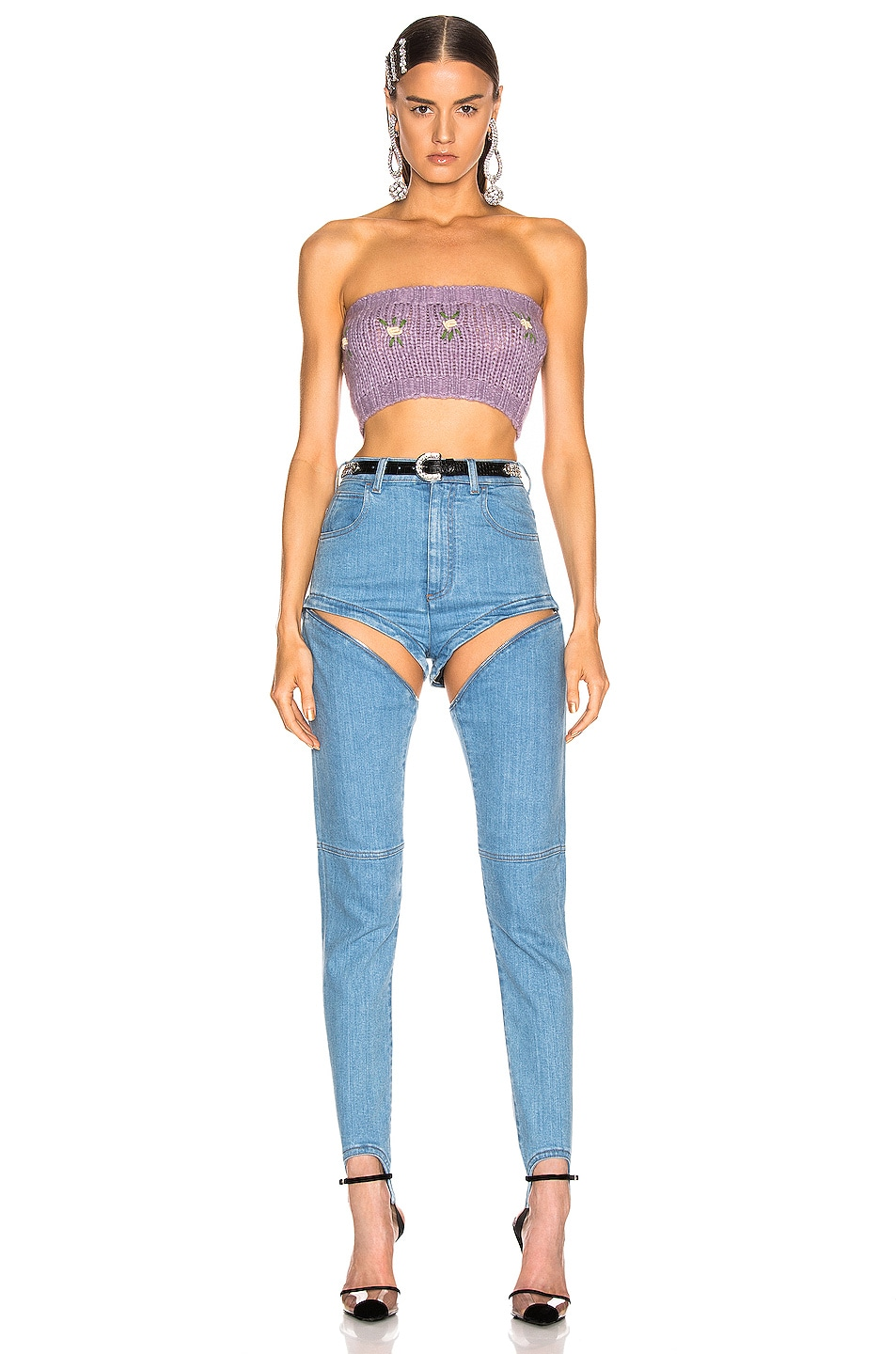 Image 4 of Alessandra Rich Floral Applique Wool Bandeau Top in Lilac